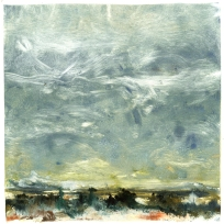 """Sky Alive Over Rio Grande & Ute Mountain"" Barrie G. Andrews, monotype"