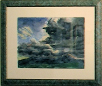 "Storm over Guadalupe ""Mountain"" Roger Harrington. watercolor"