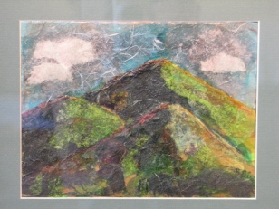 """Three Green Peaks"" Betsy Peirce, collage"