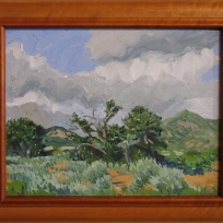 """Taos Mountains Rain Storm"" Robert Perez, Jr, oil on canvas over board"