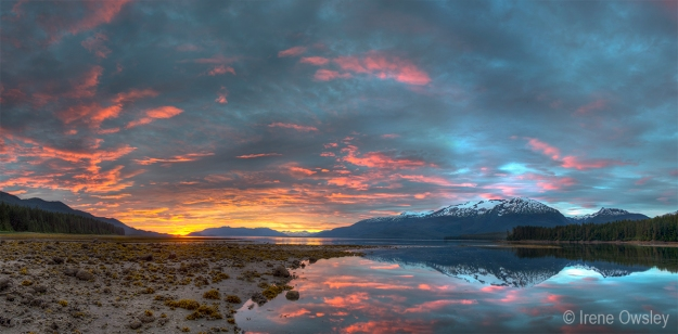 Sunset at low tide, Sanford Cove.  Chuck River Wilderness, Tongass National Forest, Southeast Alaska.