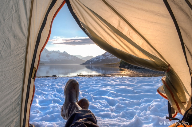 Single Frame: View from my tent down Harriman Fjord, Prince William Sound.  Nellie Juan-College Fjord Wilderness Study Area, Chugach National Forest.
