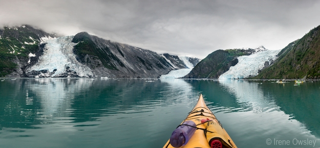 View from my kayak, Harriman Fjord, Prince William Sound.  L-R: Cascade, Barry & Coxe Glaciers.  Nellie Juan-College Fjord Wilderness Study Area, Chugach National Forest.