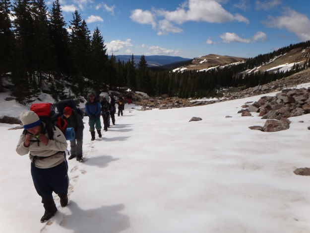 Seventh Graders Trekking in the Pecos Wilderness, Roots & Wings Community School. Image: Todd Wynward