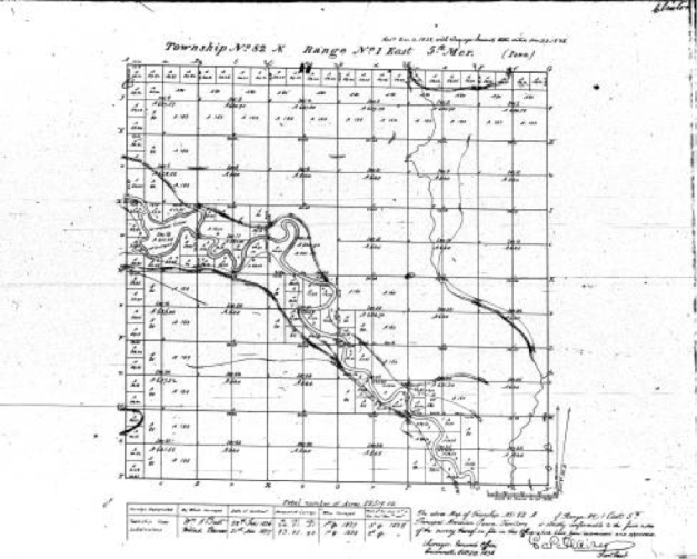 General Land Office survey map, Iowa land survey map of t082n, r001e
