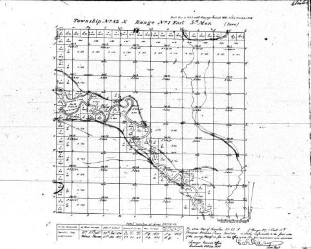 General Land Office survey map, Iowa land survey map of t082n, r001e