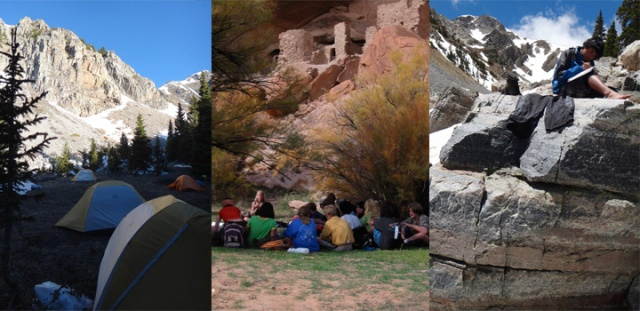 L and R - Seventh Graders Trekking in the Pecos Wilderness, Roots & Wings Community School. Image: Todd Wynward Central Image: Learning Below the Ancients, San Juan River, Utah