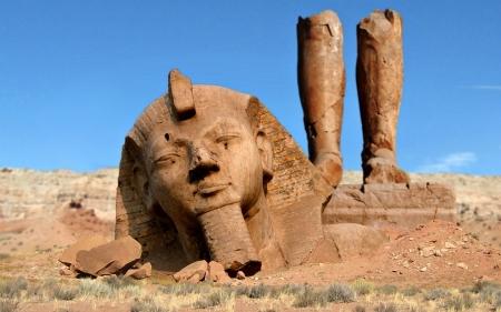 Ramses II ( Ozymandias) Statue In A Natural State