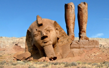 Ramses II ( Ozymandias) Statue In A Natural State